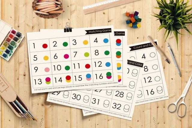 疊積木玩數數與顏色配對遊戲