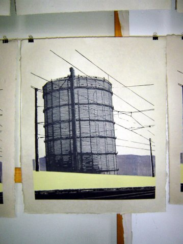 Stuttgarter Gaskessel,2009, 5color Linocut print, Limited Edition of 22, sold out