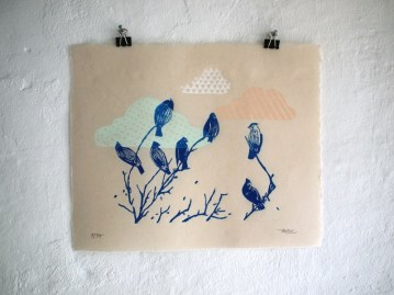 Bluebird clouds, Linout Print, Limited Editon