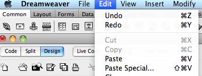 in Dreamweaver, edit>paste special