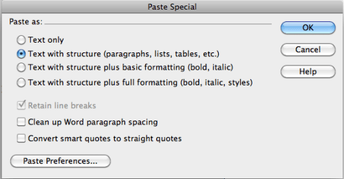 paste special options