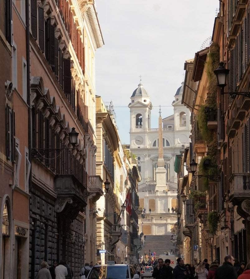 Blick von der Via del Corso mit Blick auf die Spanische Treppe