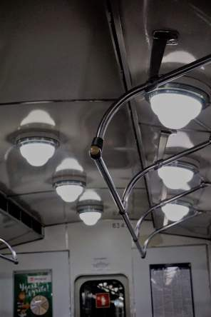 Nostalgische Lampen im Zug