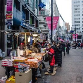 Myeongdong bouffe de rue - Seoul - Un petit saut aux Olympiques - Asie, Corée du Sud