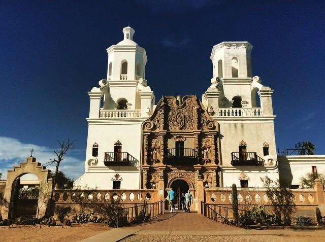 Extérieur architecture eglise - Mission San Xavier Del Bac Del - Tout sur Tucson - Amérique, États-Unis, Arizona