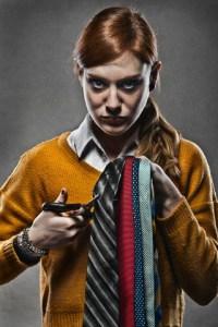 Woman Cutting Ties