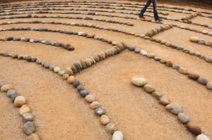 Woman Walking Labyrinth