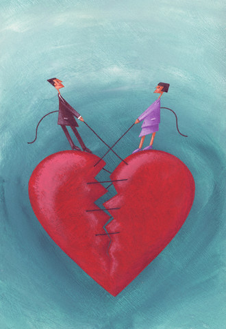 Couple Sewing Broken Heart Together