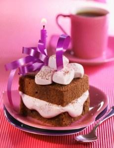 Chocolate and marshmallow birthday cake