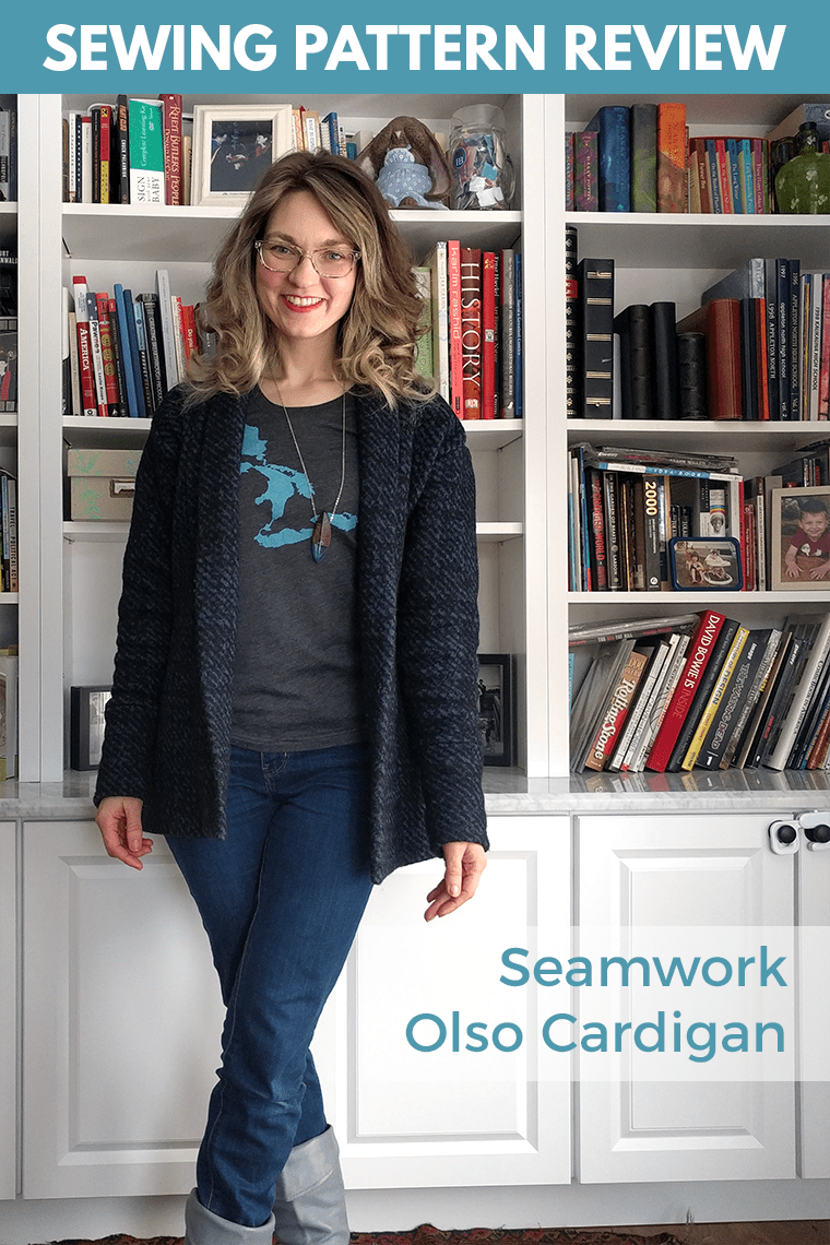 This Seamwork Olso review covers tips for sewing your own long cardigan sewing pattern. It's an easy classic sweater suitable for many types of fabric.