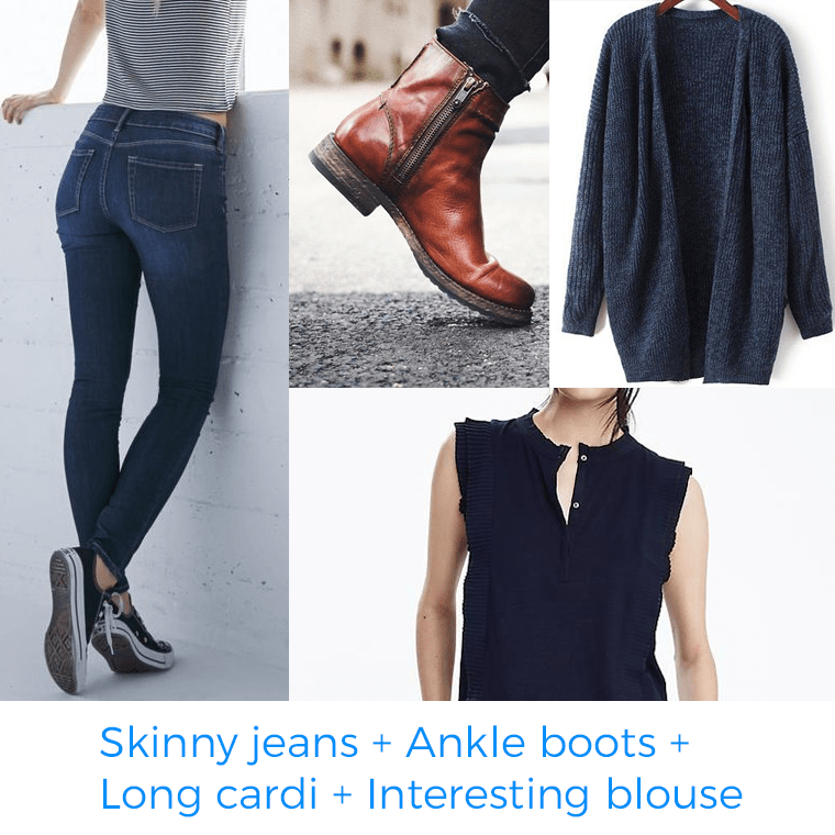 When planning a wardrobe, I can't leave out skinny jeans, ankle boots, long cardigan, and an interesting blouse.