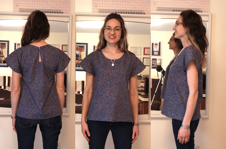 Front, back, and side views of the Sew Caroline Larchmont T.