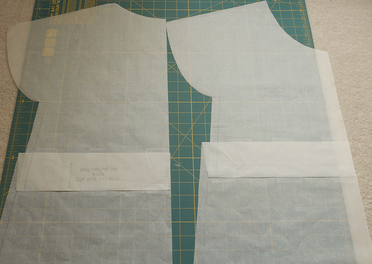 I folded out excess length of the Sew Caroline Larchmont T.