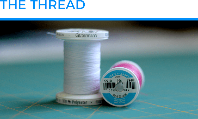 I used all-purpose polyester thread for sewing knits with a sewing machine.