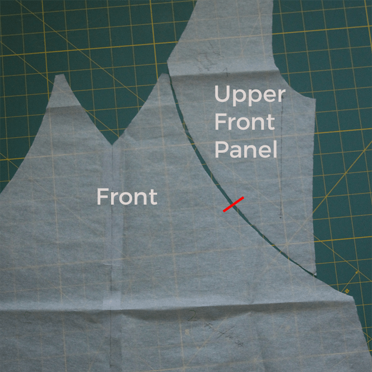 Here's how the upper front panel and front pattern pieces fit together in the Sew Sew Def Saldana V-neck.