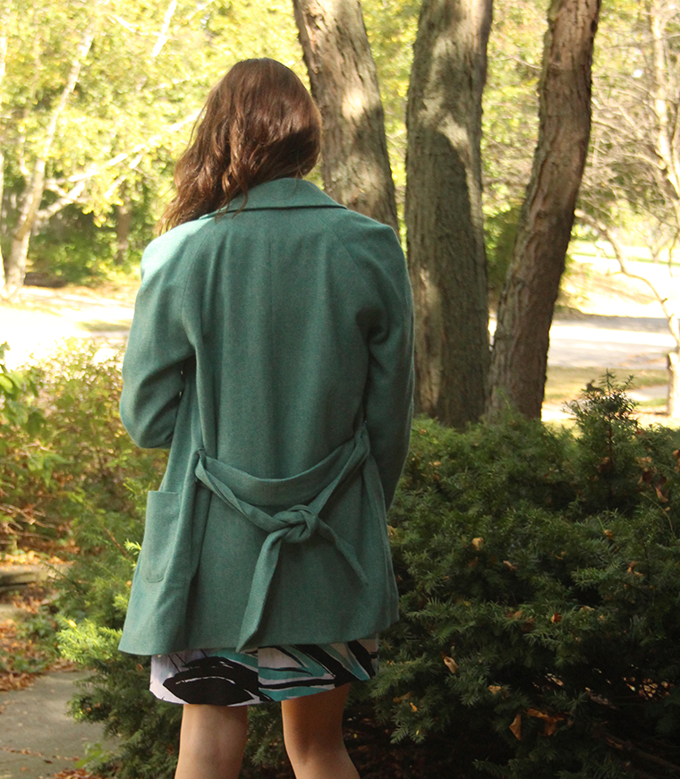 A back view of the Named Yona coat.