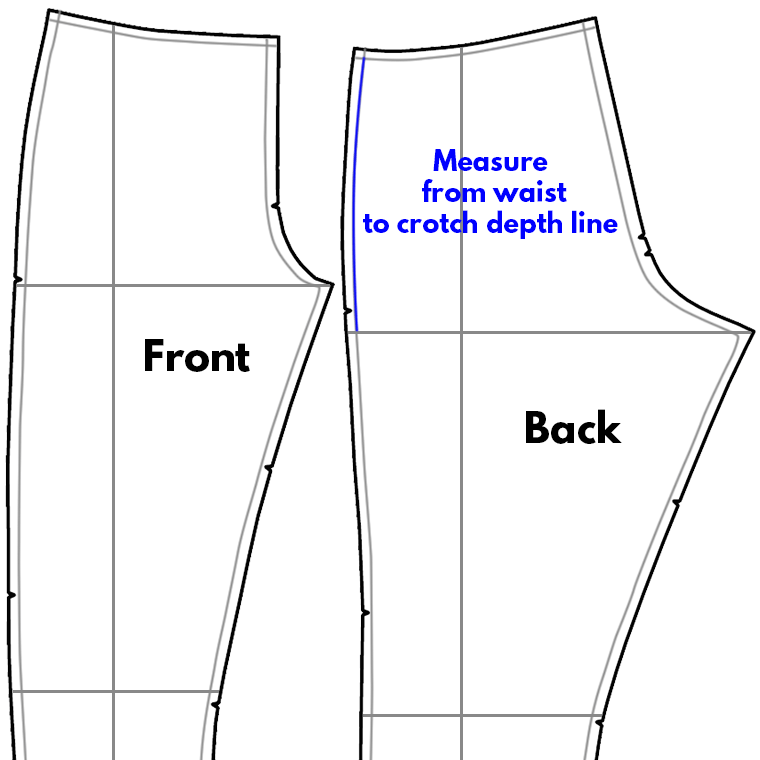 Measure from the waist seam to the crotch line on the outseam to determine crotch depth adjustments.