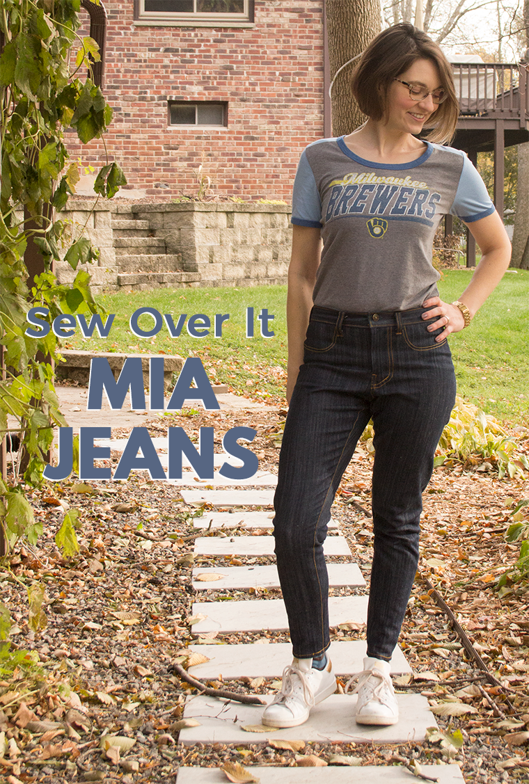 The Mia jeans from Sew Over It are billed as a great pair of beginner jeans for sewists. I customized these jeans with faux pockets, belt loops, a faux yoke, and a sweet pocket patch.
