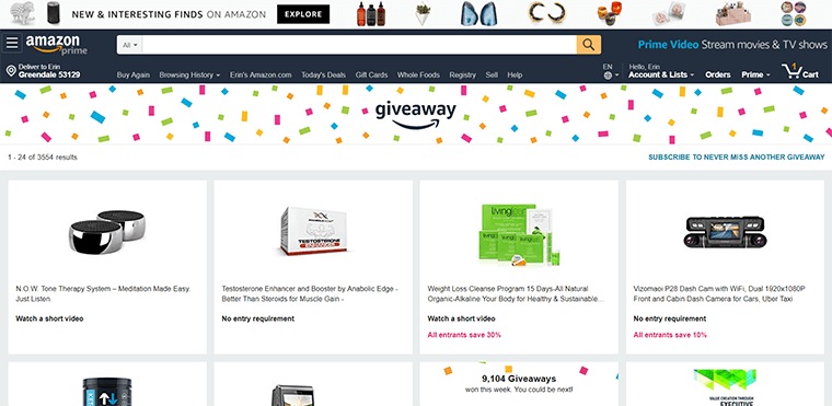 Feeling lucky? Amazon Giveaway offers chances to win products. It's a marketing tool for vendors.