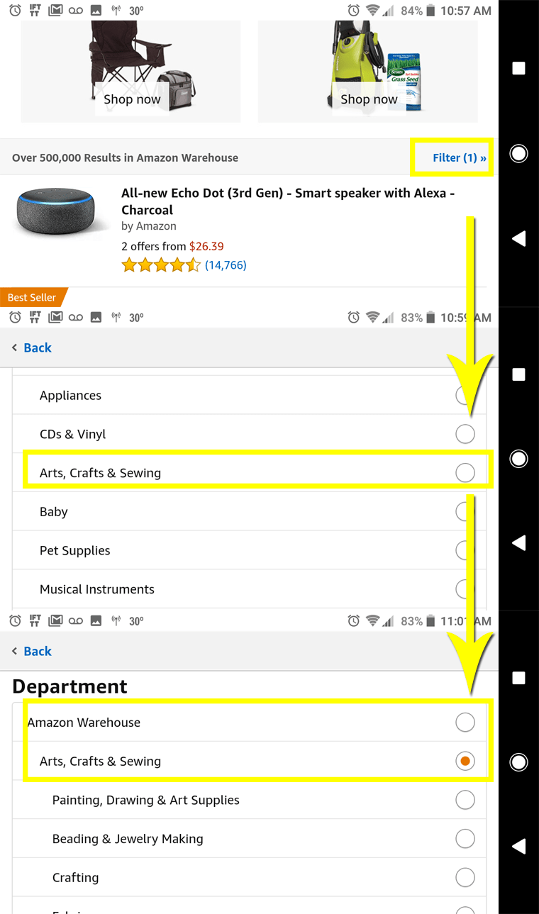 Filter the mobile Amazon Warehouse by departments and categories.