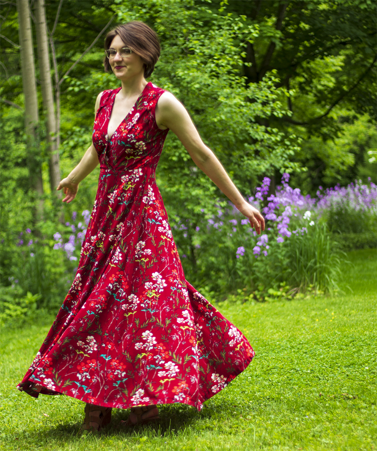 "The ""Boundless Style"" maxi dress is lovely in red floral rayon."