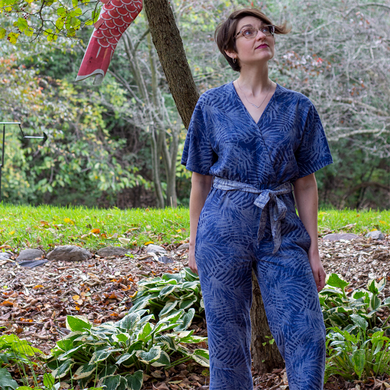 This Riva jumpsuit is made in a linen-rayon blend from Joann.