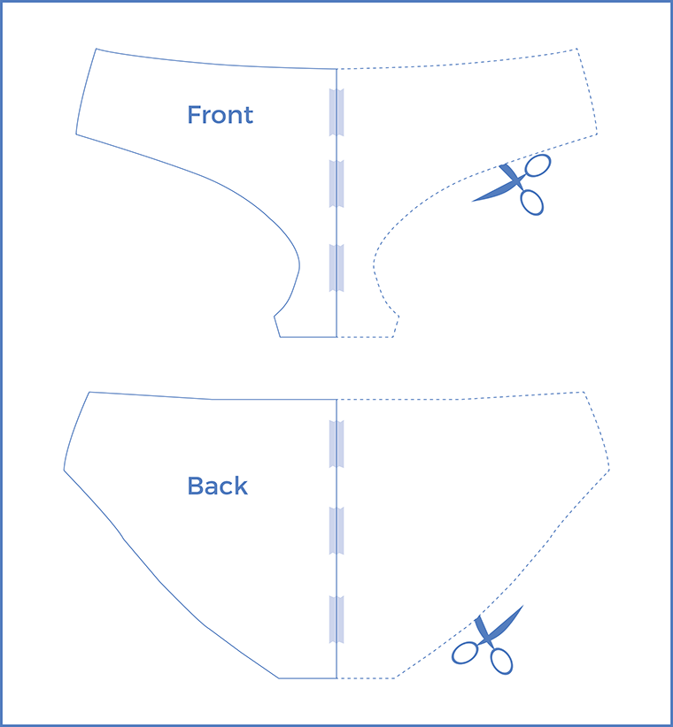 An almost zero-waste pattern layout for sewing underwear starts with cutting pattern pieces flat.
