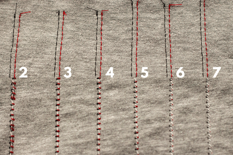 Here's a look at twin needle sewing outcomes with changes to the upper thread needle tension.