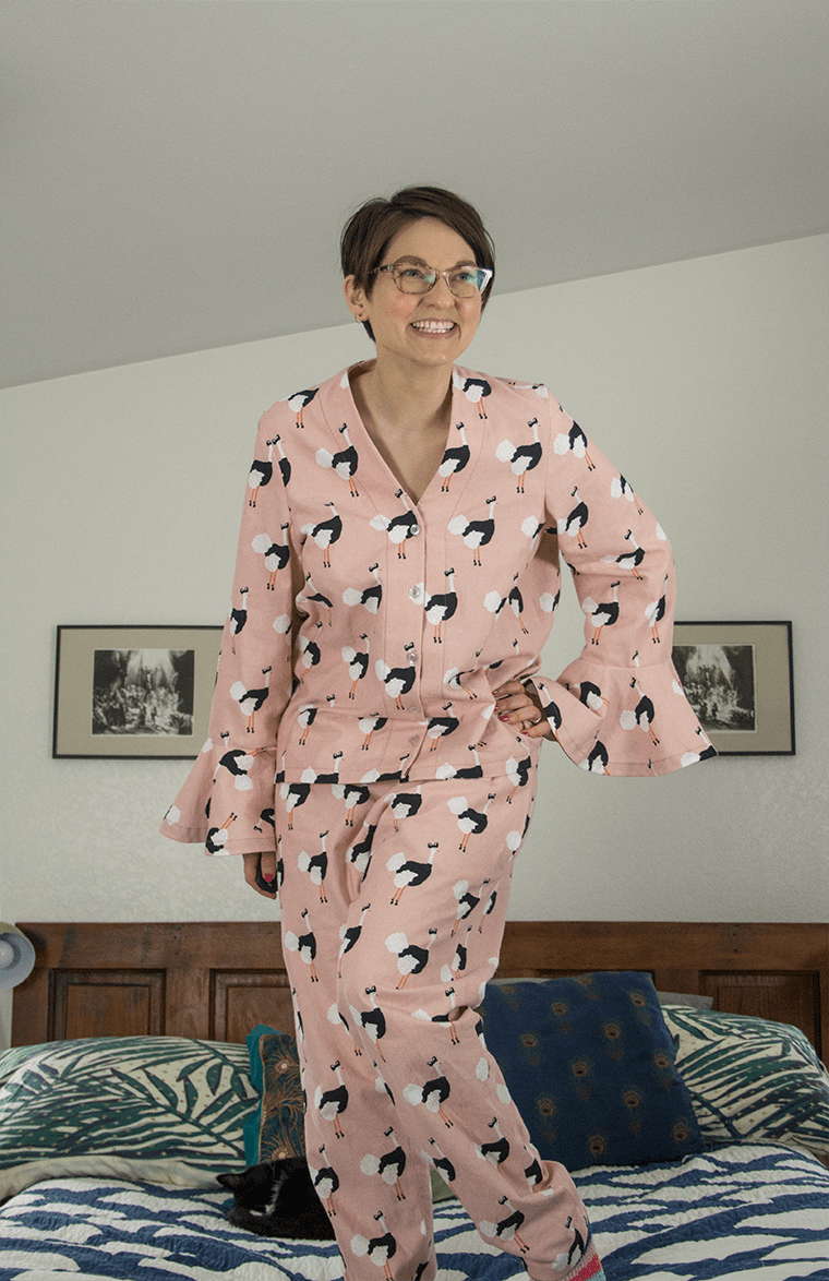 Standing on my bed in my first self-drafted sewing pattern - flannel pajamas.