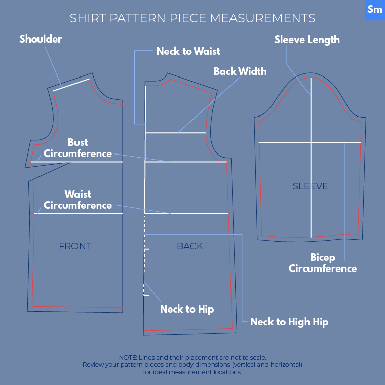 Here's how to make measurements on shirt pattern pieces.