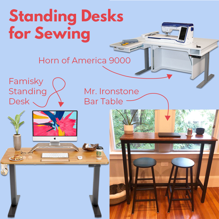 These are three standing desks that might work for your sewing practice.