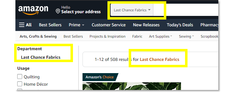 Amazon has a Last Chance Fabrics department that's sure to delight any deal-hunting sewist.
