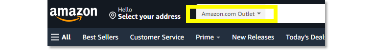 When you search the outlet exclusively, this is how the dropdown menu looks.