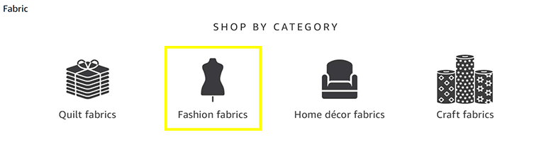 """Click """"Fashion fabrics"""" to search Amazon's fabric for sewing clothes."""