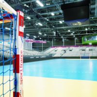 Image : Gymnase futsal avec tribune vu du terrain