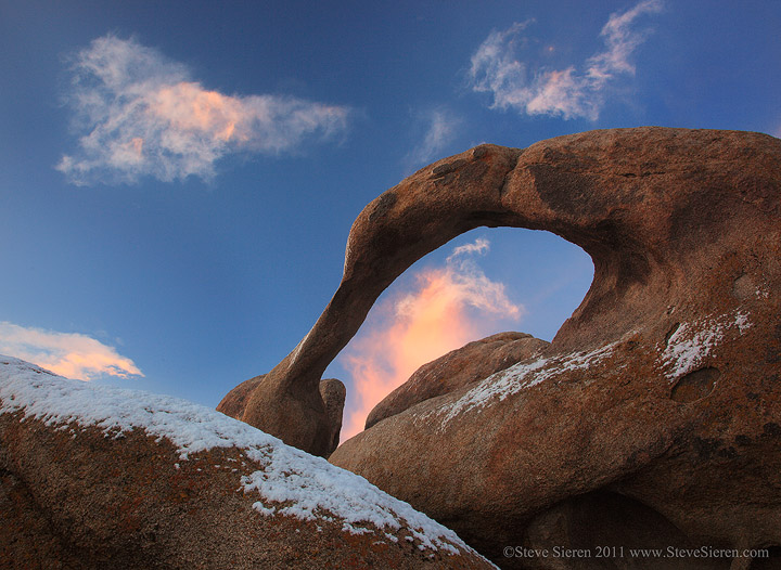 Mobius Arch in the Alabama Hills with a dusting of snow.
