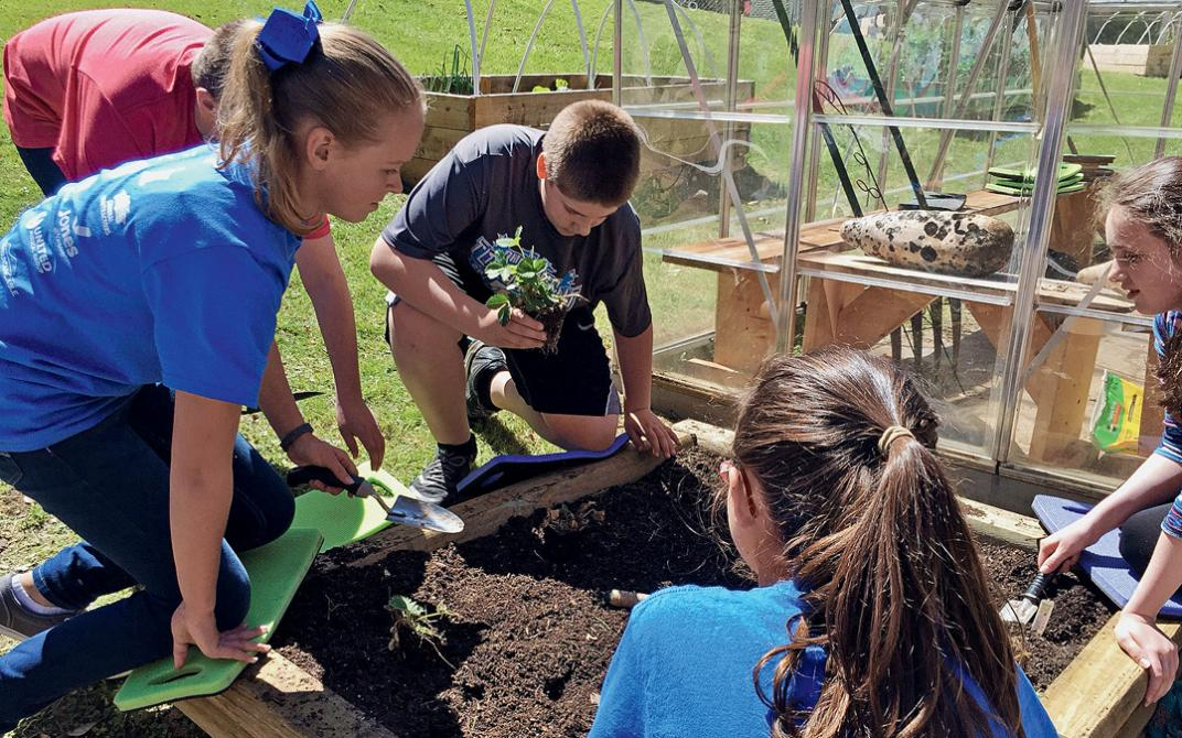 Sixth-grade students plant strawberries in the garden at Pikeville Elementary School in Kentucky.