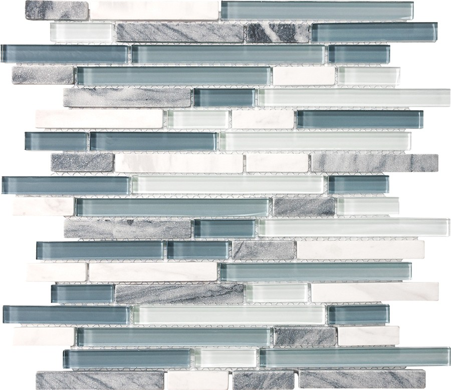 waterfall bliss glass stone linear mosaic