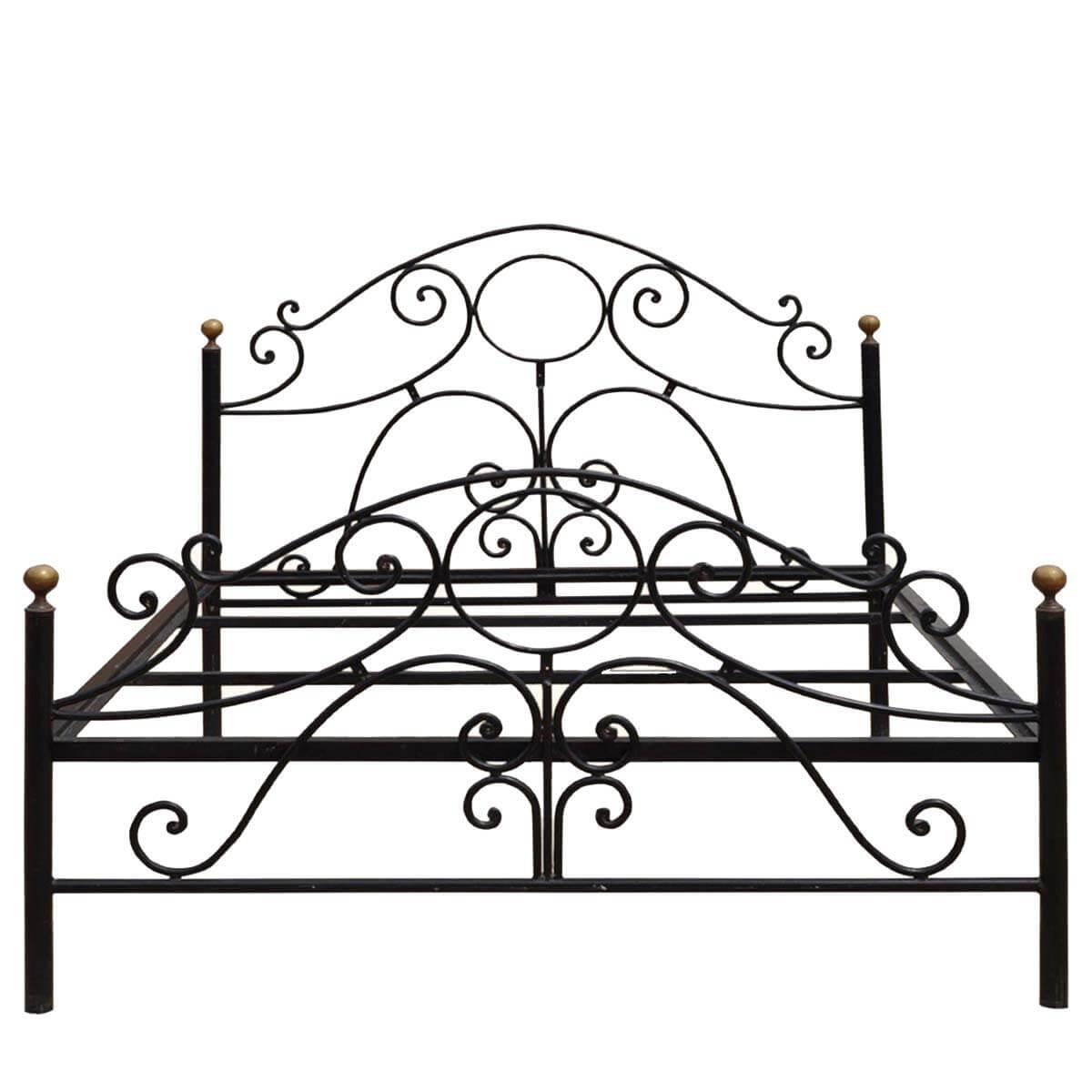 Parisian Black Wrought Iron Decorative Bed W Headboard