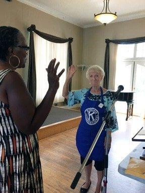 Sierra Madre Kiwanis Welcomes New Member Joy Barry. Joy is being sworn in by President, Susan Henderson