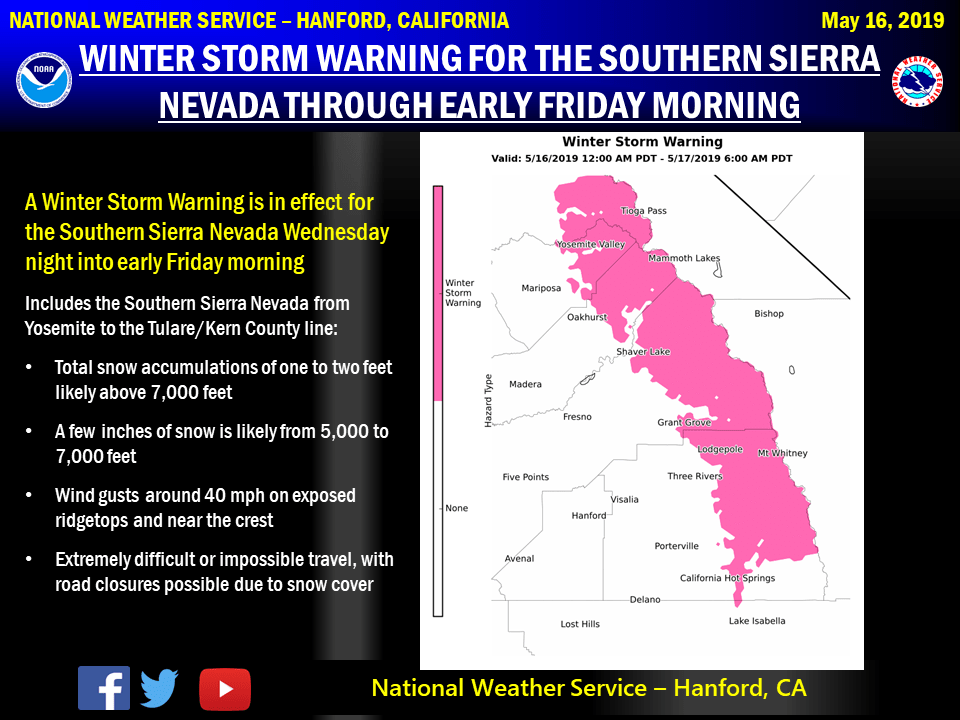 A Winter Weather Warning, in May · Sierra Mountain Passes