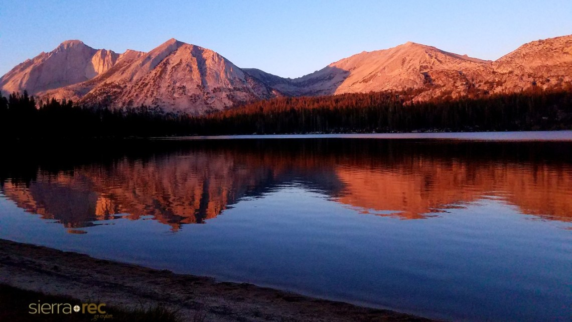 Sunset on Young Lakes white mountain and Mt Conness in Yosemite
