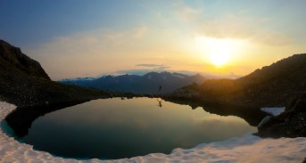 sunset training in Alaska on ridge