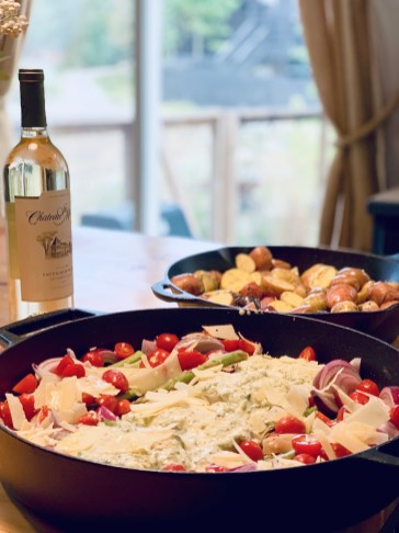 alaskan cod dinner with wine