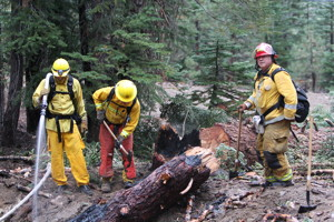 Mammoth Lakes Fire Department Firefighters McClanahan, Van Winkle and Captain Bernasconi