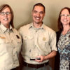 Pictured are Debra Hein, Center Manager for the Inyo National Forest and BLM Bishop Field Office Dispatch Center, Andrew Kong, Assistant Center Manager, and Jill Erhard-Moore,  Center Manager San Bernardino National Forest  after Andrew received the Golden Mic Award.