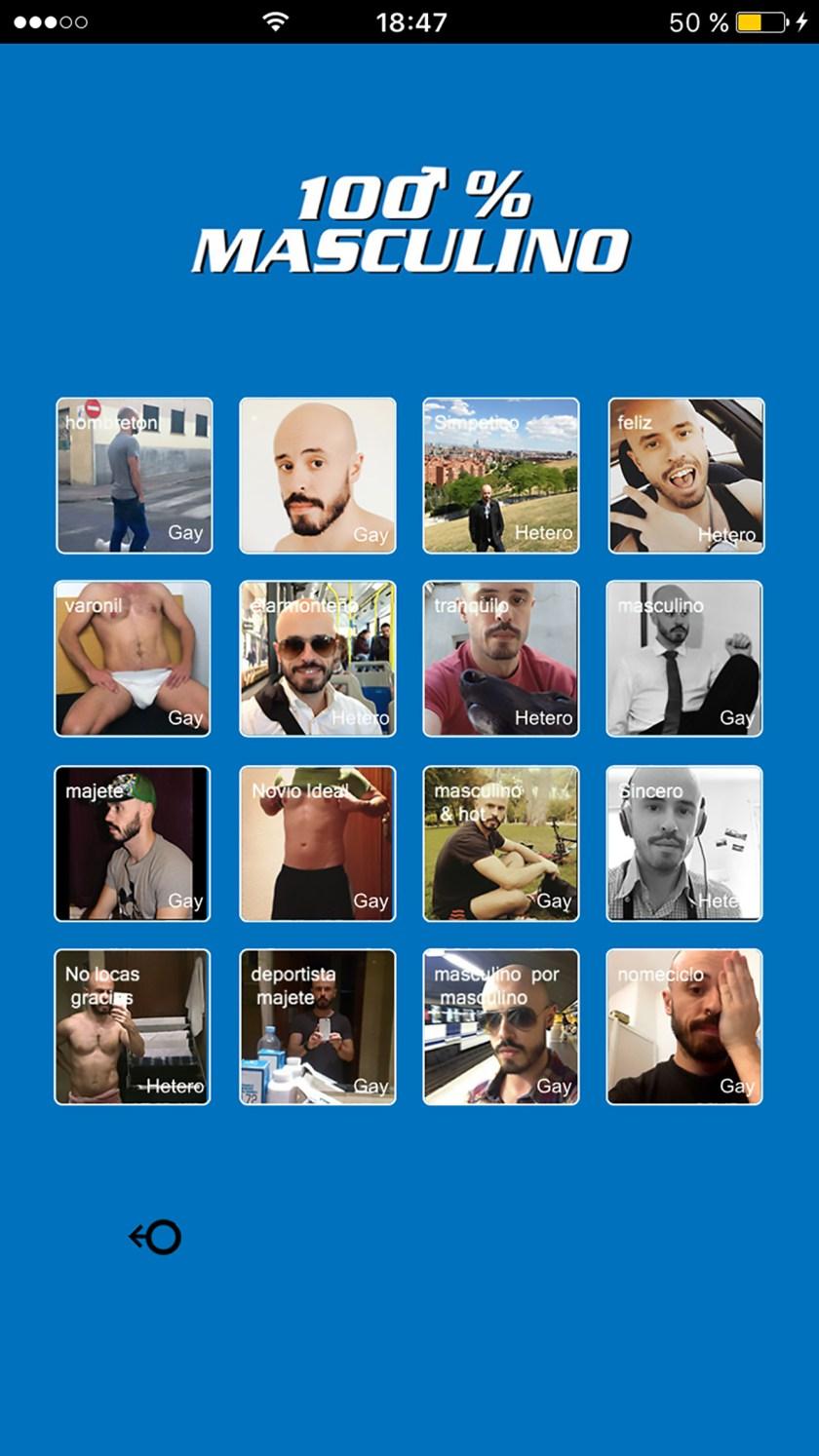 """Portada de la falsa app. para móviles """"100% masculino"""""""
