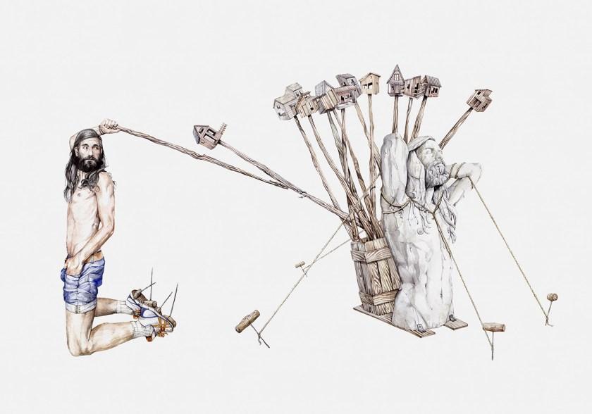"""Obra de Manuel Antonio Domínguez de la colectiva """"Zeus y el pudor"""""""