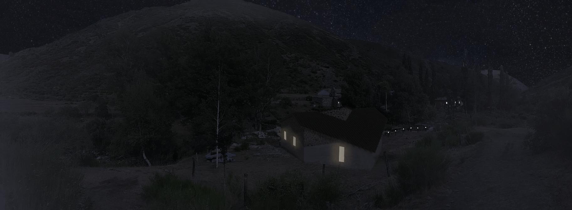 sietequince proyecto refugio espigüete montaña exterior nocturna