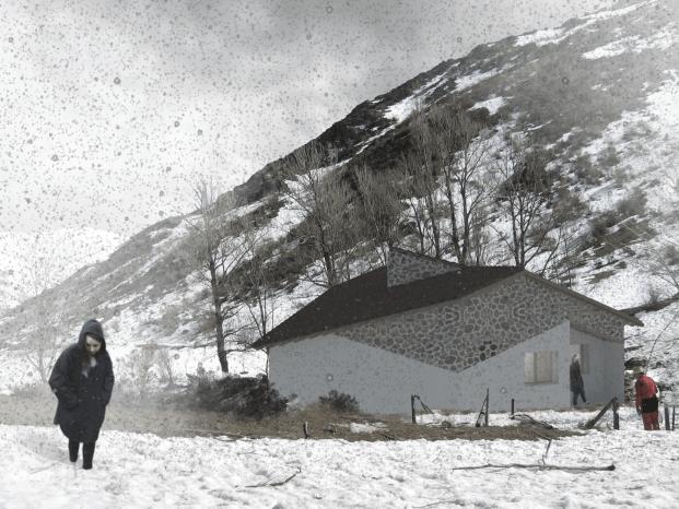 sietequince proyecto refugio espigüete montaña exterior norte